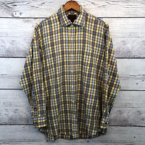 Born Yellow Plaid Button Down Shirt Men's Large